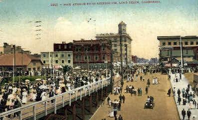 Pine Ave. - Long Beach, California CA Postcard
