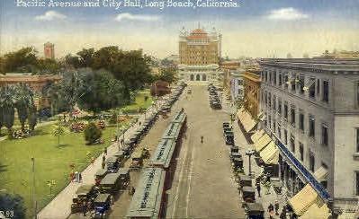 Pacific Ave. & City Hall - Long Beach, California CA Postcard