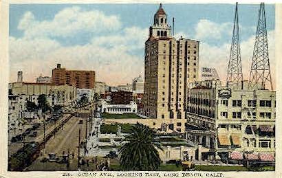 Ocean Ave. - Long Beach, California CA Postcard