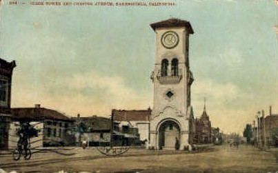 Clock Tower & Chester Ave. - Bakersfield, California CA Postcard