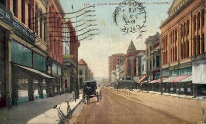 Main St. - Stockton, California CA Postcard