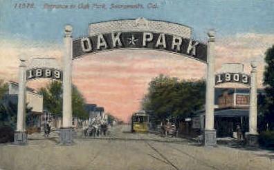 Entrance to Oak Park - Sacramento, California CA Postcard