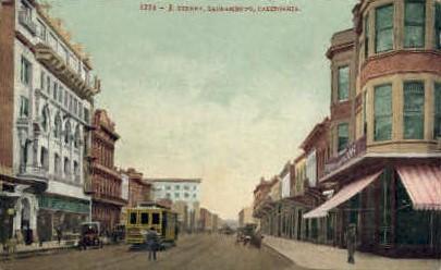 J. Street - Sacramento, California CA Postcard