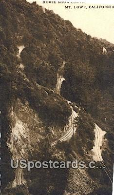Horse Shore Curve - Mt. Lowe, California CA Postcard