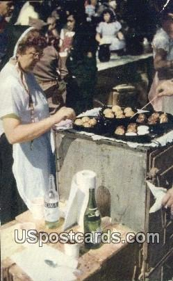 Cooking Aebleskiver for Breakfast, Danish Days - Solvang, California CA Postcard