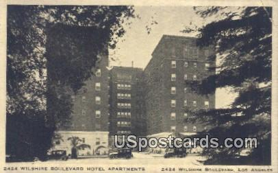 Wilshire Boulevard Hotel Apartments - Los Angeles, California CA Postcard