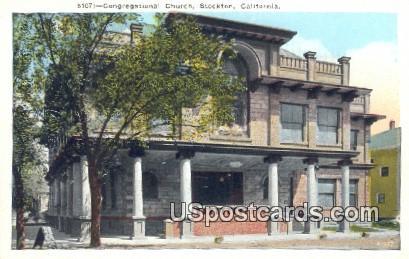 Congregational Church - Stockton, California CA Postcard