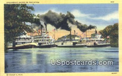 Steamboat Races - Sacramento, California CA Postcard