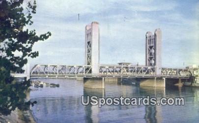 Tower Bridge - Sacramento, California CA Postcard