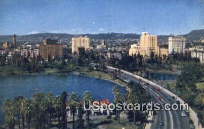 Wilshire Boulevard, MacArthur Park - Los Angeles, California CA Postcard