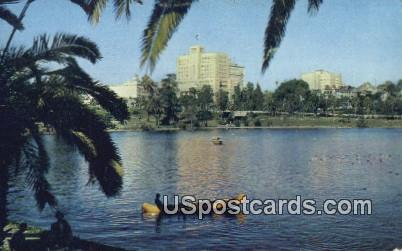 Lake, Douglas Mac Arthur Park - Los Angeles, California CA Postcard