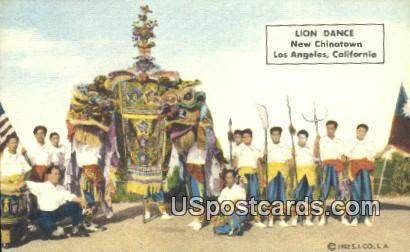 Lion Dance, New Chinatown - Los Angeles, California CA Postcard