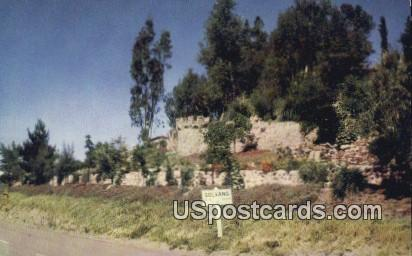 Danish Rock Wall & Flower Garden - Solvang, California CA Postcard