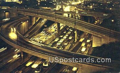 Los Angeles Harbor Freeway - California CA Postcard