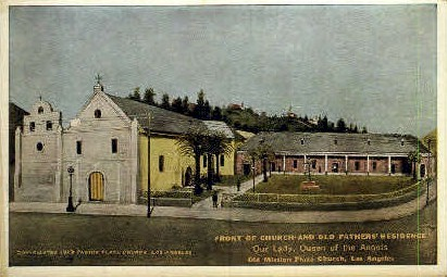 Front of Church & Old Fathers Residence - Los Angeles, California CA Postcard