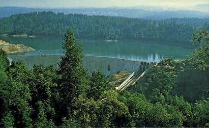 Bullards Bar Dam - MIsc, California CA Postcard