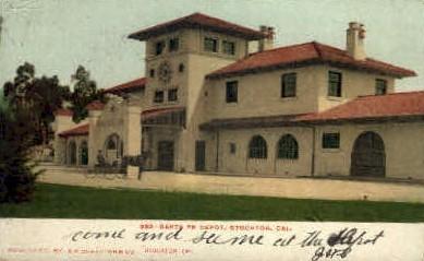 Santa fe Depot - Stockton, California CA Postcard