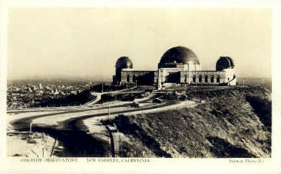 Real photo, Griffith Observatory - Los Angeles, California CA Postcard