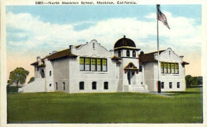 North Stockton School - California CA Postcard
