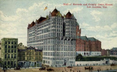 Hall of Records & Court House - Los Angeles, California CA Postcard