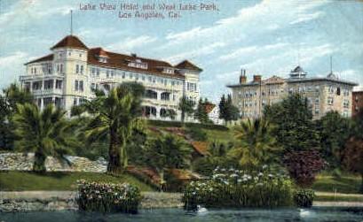Lake View Hotel & West Lake Park - Los Angeles, California CA Postcard