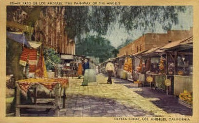 Olvera St. - Los Angeles, California CA Postcard