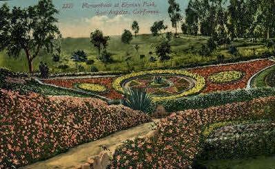 Flowerbeds, Elysian Park - Los Angeles, California CA Postcard