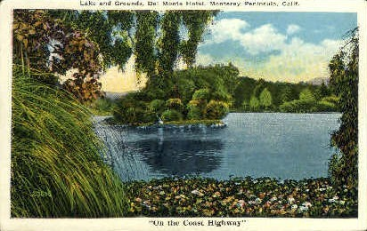 Lake & Grounds, Del Monte Hotel - Monterey Peninsula, California CA Postcard