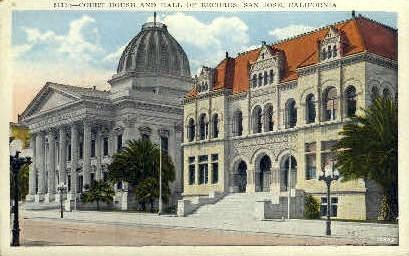 Court House & Hall of Records - San Jose, California CA Postcard