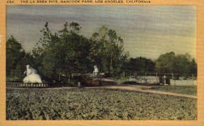 The La Brea Pits, Hancock Park - Los Angeles, California CA Postcard