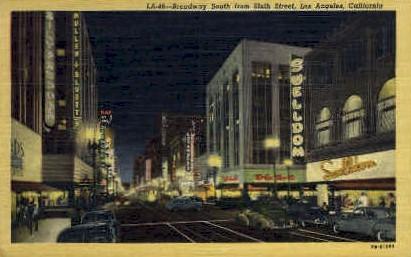 Broadway South - Los Angeles, California CA Postcard