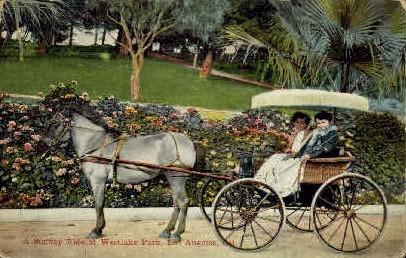 Sunday Ride at Westlake Park - Los Angeles, California CA Postcard
