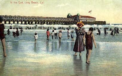 In the Surf - Long Beach, California CA Postcard