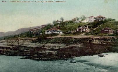 Cottages & Beach  - La Jolla, California CA Postcard