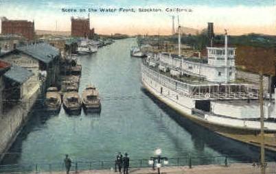Water Front - Stockton, California CA Postcard