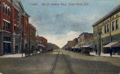 4th St. West - Santa Rosa, California CA Postcard