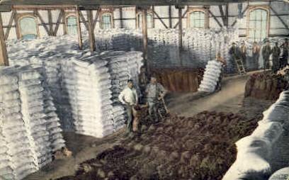 Interior of Flower Mill - Stockton, California CA Postcard