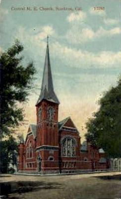 Central M.E. Church - Stockton, California CA Postcard