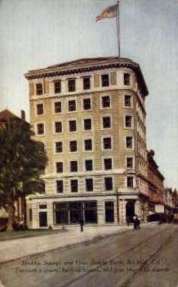 Stockton Savings & Loan Society Bank - California CA Postcard