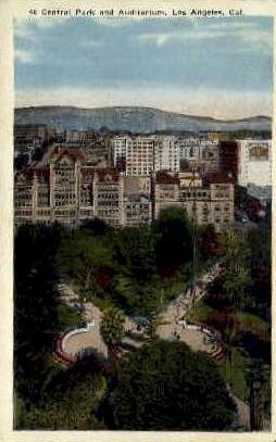 Central Park & Auditorium - Los Angeles, California CA Postcard
