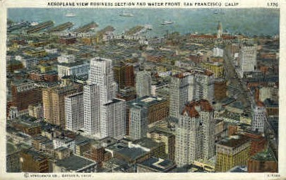Buisiness Section & Water Front - San Francisco, California CA Postcard