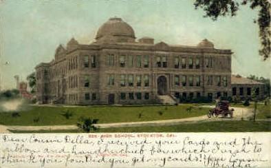 High School - Stockton, California CA Postcard