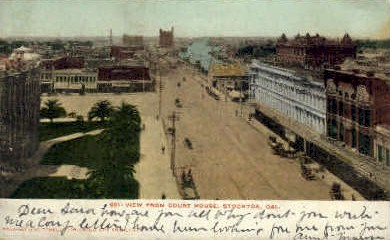 View from Court House - Stockton, California CA Postcard