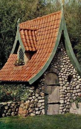 Fairytale Garden House - Solvang, California CA Postcard