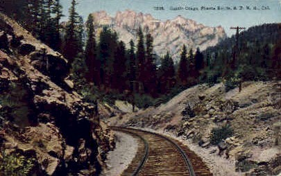 Castle Crags - Shasta, California CA Postcard