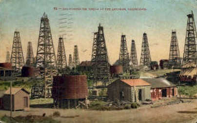 California Oil Wells  - Los Angeles Postcard