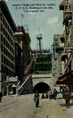 Angel's Flight & Third St. Tunnel - Los Angeles, California CA Postcard