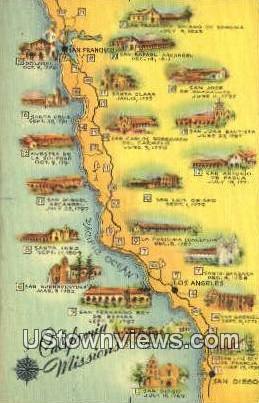 California Missions - Los Angeles Postcard