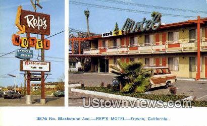 Rep's Motel - Fresno, California CA Postcard