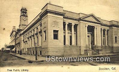Free Public Library - Stockton, California CA Postcard